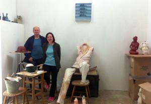 In sculptor Danny Osborne's West Cork studio with Danny and his wife Geraldine,