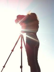Mia shooting into the sun