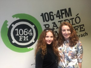 Zena Donnelly, who plays young Erina being interviewed at Raidio na Life